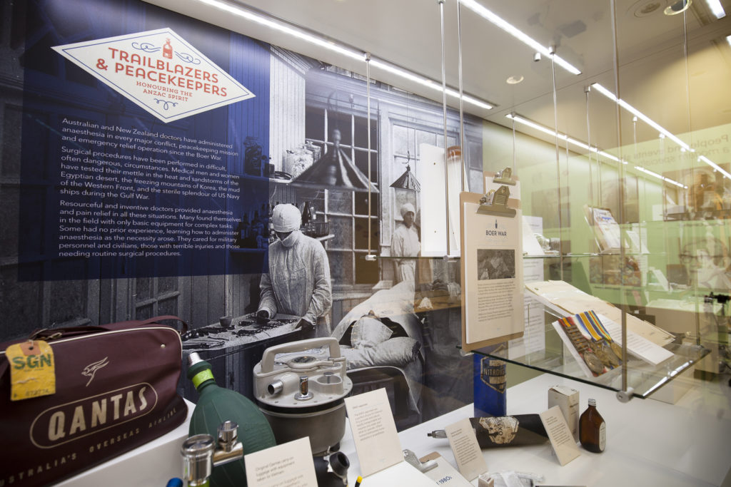 Display case in the Geoffrey Kaye Museum of Anaesthetic History