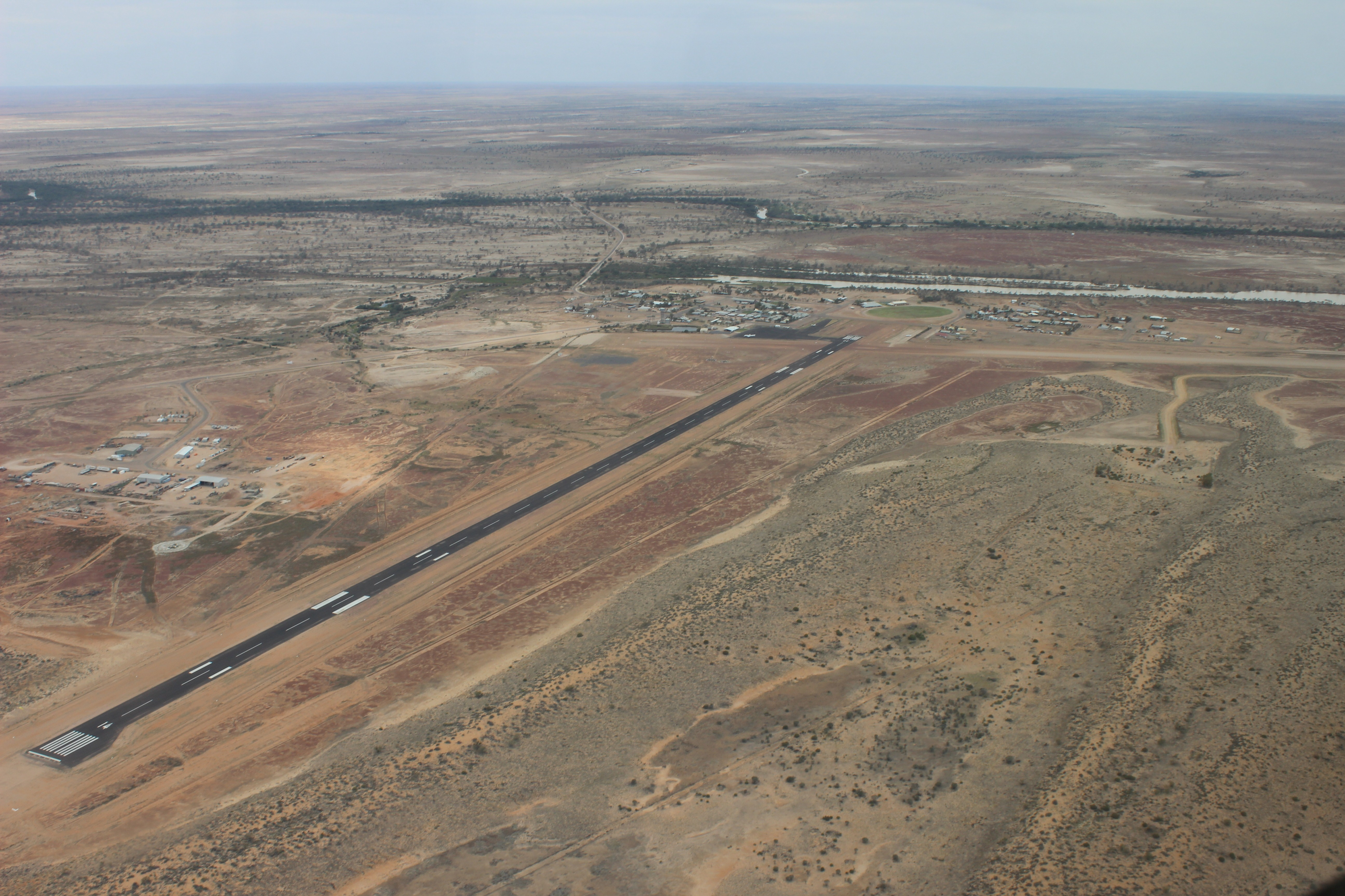 aerial view of Birdsville including runway