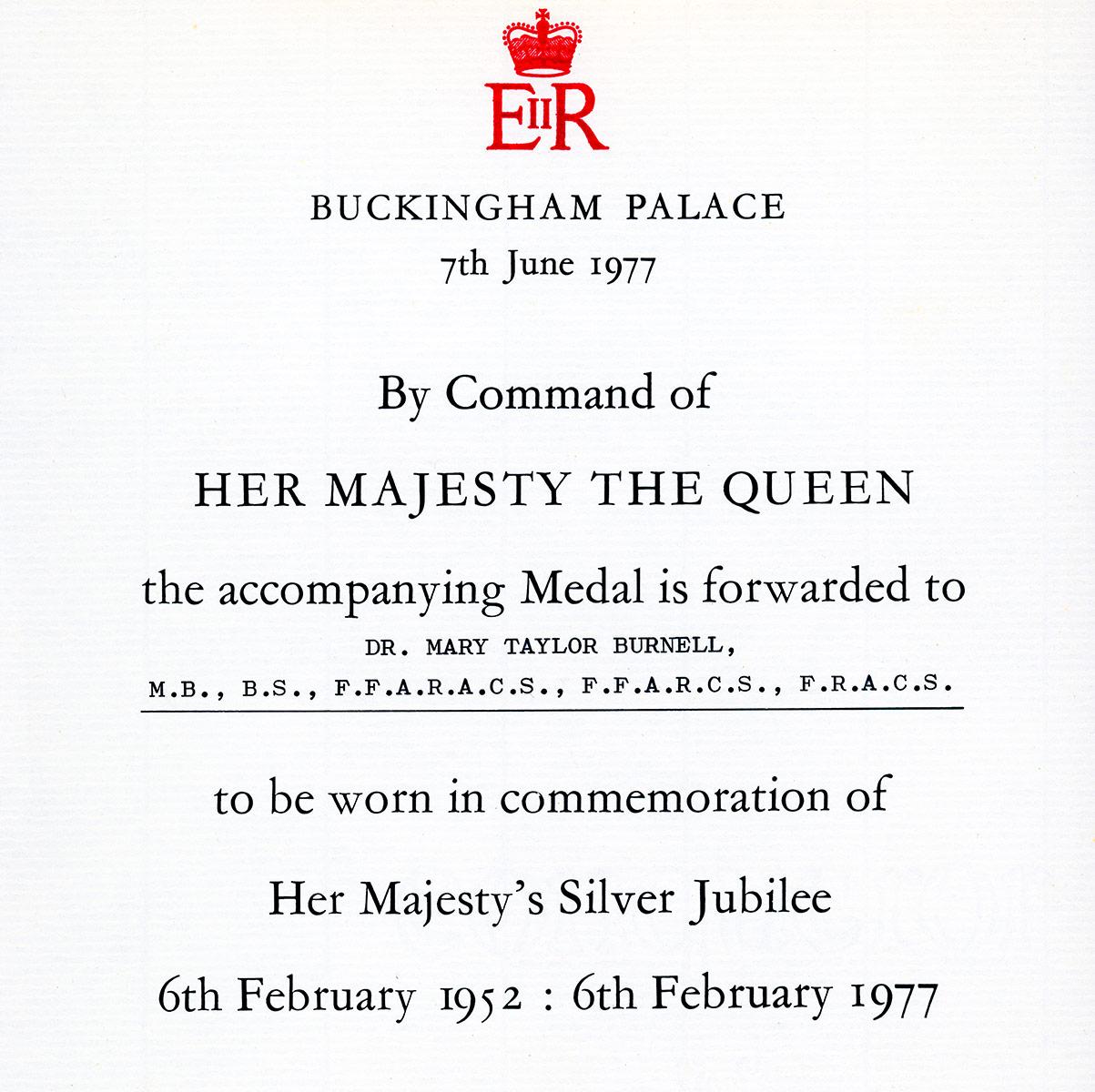 Mary Burnell Silver Jubilee Invitation