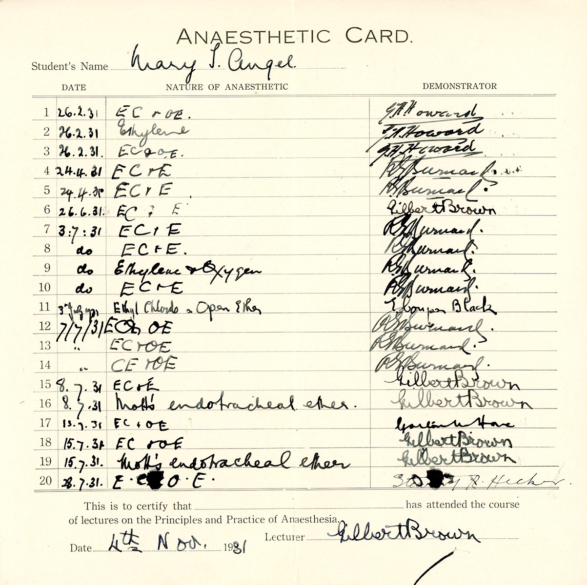 Anaesthetic Card - Mary T. Angel