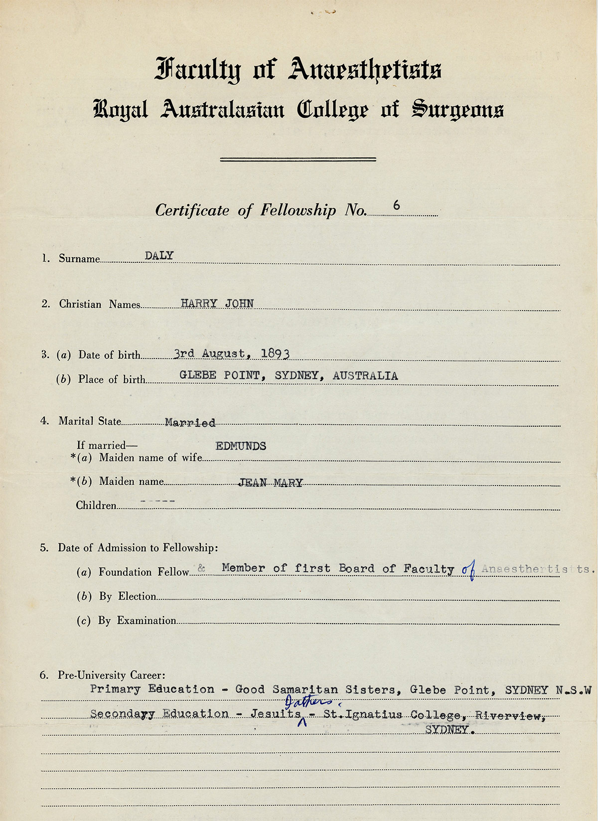 Harry Daly Certificate of Fellowship