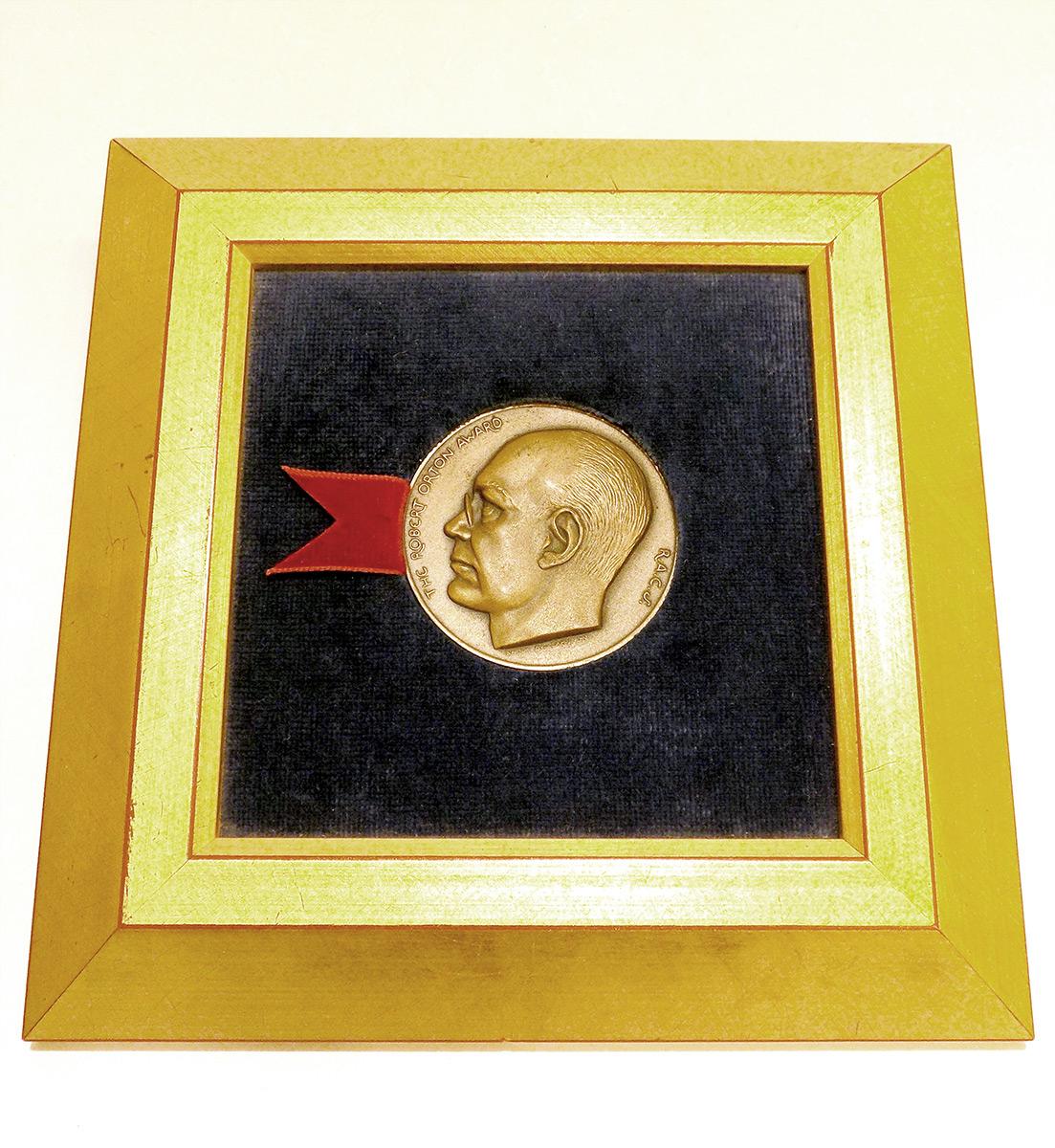 Robert Orton Medal in frame