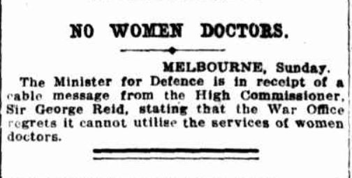 Australian Women Doctors and the Scottish Women's Hospitals